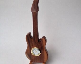 SALE Electric Guitar Hardwood Clock