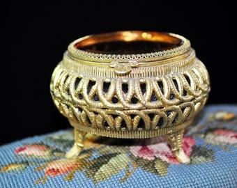 Gold Jewelry Box, Mink Lining, Antique metal jewelry box, trinket box, shabby chic, beveled glass, #1782
