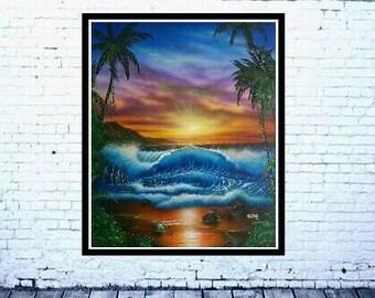 palm tree,seascape print, beach decor, printable wall art,ocean decor,palm trees print,sunset print,waves, water, palm tree,wall art,sunset,