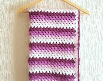 Purple ombre granny stripe crochet blanket