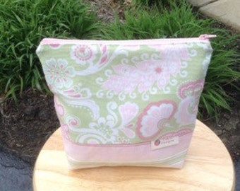 Pink and green paisley ditty bag, Lislyn Designs