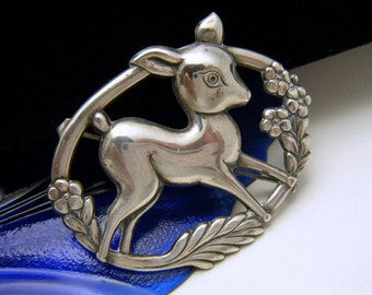 Vintage 1940s Sterling Silver Figural Fawn Deer Brooch Pin
