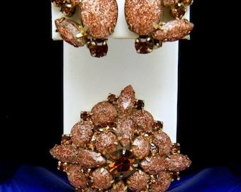 Vintage Rhinestone Stack Brooch Earring Set Faux Goldstone Copper Color Brown