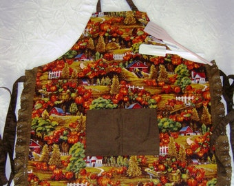 Thanksgiving pumpkin farm apron with utensils