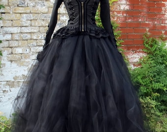 Full length black tulle skirt for Victorian Costume, Mourning Dress, Dickens Costume, Penny Dreadful or Vampire, Crimson Peak Costume Skirt