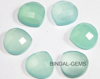 10 Pieces Lot Aqua Chalcedony Heart Shape Checker Cut Loose Gemstone