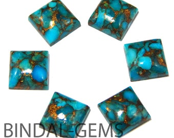 10 Pieces Blue copper Turquoise Square Shape Loose Smooth Polished Gemstone