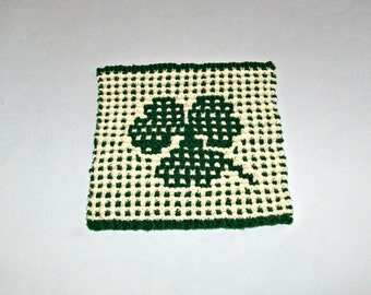 Fun Unique Shamrock Picture Handknitted Dishcloth - St. Patrick's Day