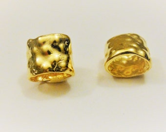 Vermeil, 18k gold over 925 sterling silver oval spacer, shiny gold spacer, vermeil spacer, hammered spacer