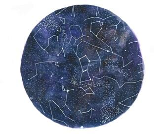 Fine Art Print Watercolor Star Chart Print Constellations Night Sky Painting