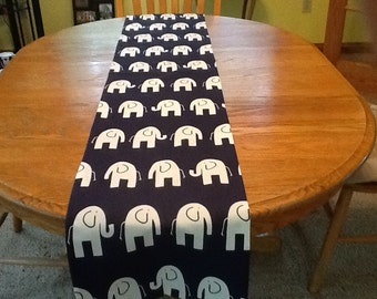 Navy elephant table runner