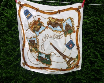 French vintage souvenir scarf from Paris, white background