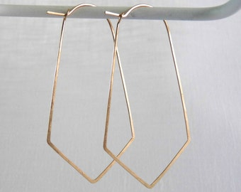 Long Geometric Hoop Earrings - Angular Point Hoops in Bronze, 14k Gold Filled or Sterling Silver