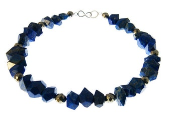 Lapis lazuli and pyrite nugget necklace, blue, gold, statement necklace, artisan jewellery