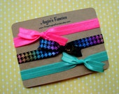 0-6 Months Simple Elastic Bow Headband Set in Summer Brights, Teal, Pink, Houndstooth Baby Headwrap, Neon Headband Gift Set For Babies