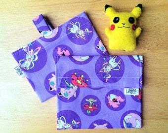 POKEMON Reusable Sandwich & Snack Bag Set in Purple Pokeball print - Velcro - ECOfriendly - Food Safe - Dishwasher Safe - Back to School