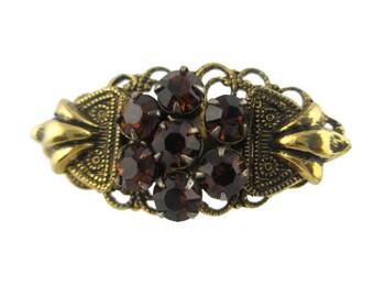 Vintage Topaz  Rhinestone Antiqued Gold Tone Scatter  Pin