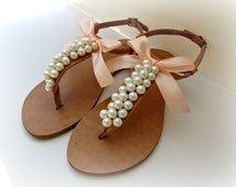 Wedding sandals- Greek leather sandals decorated with ivory pearls and peach satin bow -Bridal party shoes- Pears flats- Bridesmaid sandals