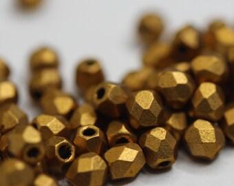 Fire Polish 3mm - Brass Gold 1740: 50 pcs