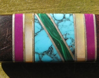 Brass Money Clip with turquoise, mahogany, pearl and malachite