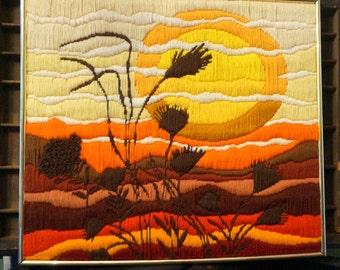Vintage Framed Cross Stitch/Needlepoint Sunset Picture