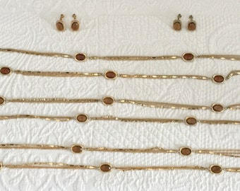 """Sarah Coventry """"Golden Embers"""" demi parure  necklace and earrings"""