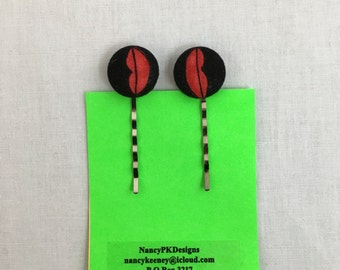 Red Lips Cover Button Bobby Pins, Hair Pins, Clips