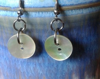 Iridescent vintage shell button earrings