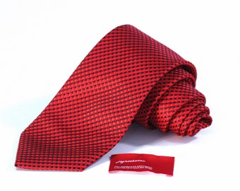 Tie (3 inch wide) in Bright Red and Black