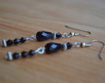 Black and silver bead earrings- classic and beautiful