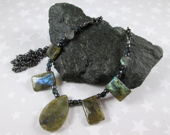 Labradorite Necklace - Faceted Teardrop and Rectangles