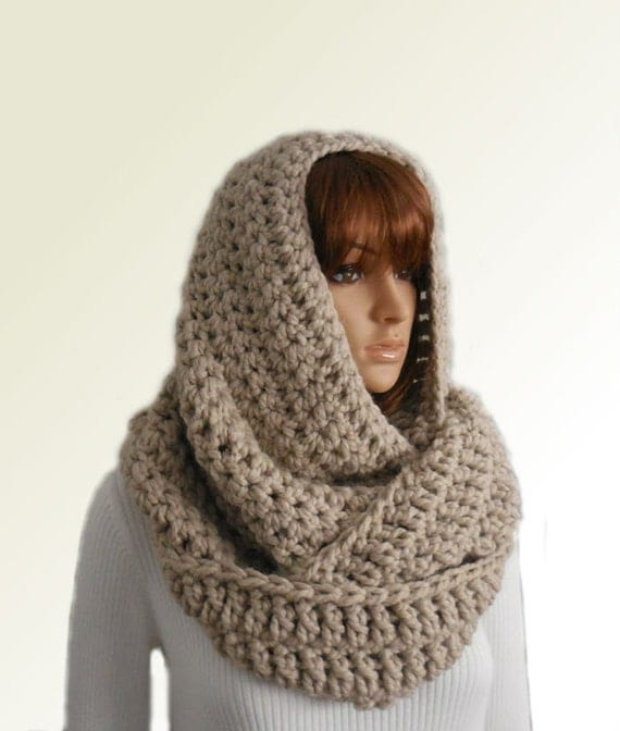 Oversized Infinity Scarf Knitting Pattern : OVERSIZED INFINITY Scarf Knit Crochet Extra Large Huge Hooded