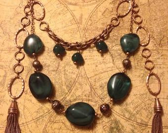 Green Fairy Tasseled Necklace