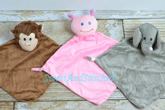 Personalized Baby Minky Animal Lovey Blanket in Monkey, Ladybug, or Elephant, Personalized Blanket for baby, Name Included!
