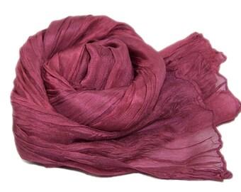 Hand dyed silk scarf - 4 sizes - crinkle scarf - BURGUNDY
