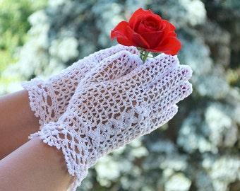 lace wedding gloves, Crocheted gloves, wedding gloves, white gloves, romantic wedding, bridal gloves, women crochet, romantic lady