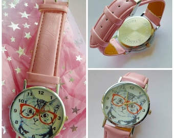 Watch Cat wears glasses effect face for girls teenagers women Choice of Gift pouch Birthday Xmas gift ideas wrist watch  fun design