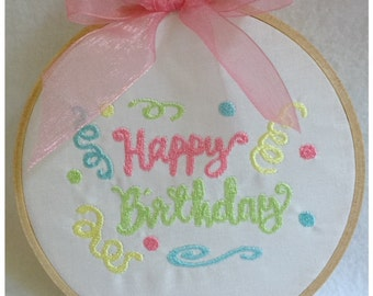 Happy Birthday Machine Embroidery Set of 2 sizes Machine Embroidery Instant Download Design