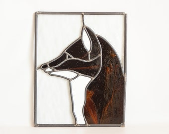 Vintage Handmade Fox Stained Glass Panel, Red Fox Sun Catcher Window Panel, Woodland Style Home Decor