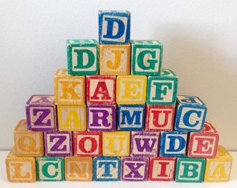 Vintage Wood Alphabet Toy Blocks