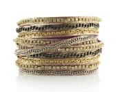 Mixed Media Wrap Bracelet In Berry Shimmer, Gold Bracelet, Leather Wrap Bracelet, Leather Bracelet Wrap Bracelet, Presh Bracelet