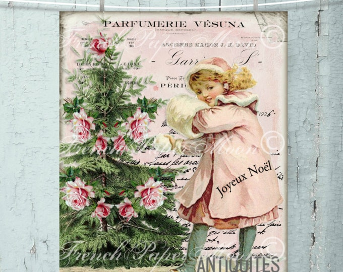Shabby Pink Christmas Victorian Girl Download, Pink Christmas Digital, Snow, Printable Christmas Image, Transfer
