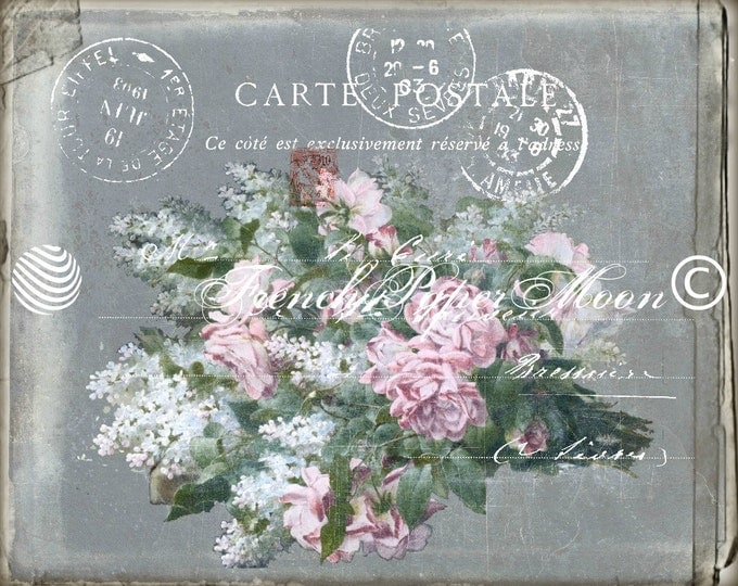 Digital Download French Postcard, Digital Carte Postale, Shabby French Postcard, Pink Roses, Graphic Image