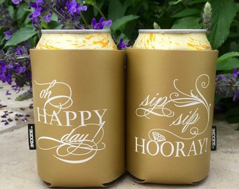 Oh Happy Day - Sip Sip Hooray - authentic KOOZIE® can coolers, Gold Wedding KOOZIE®, Wedding Party KOOZIE®, Printed Can and Bottle Cooler