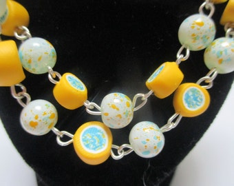 BLue Yellow and White Necklace