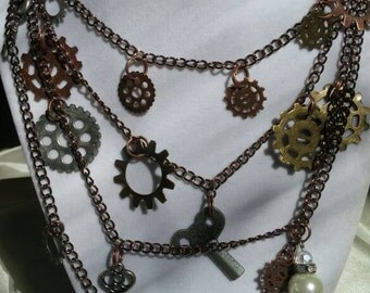 Multilayered Steampunk Necklace