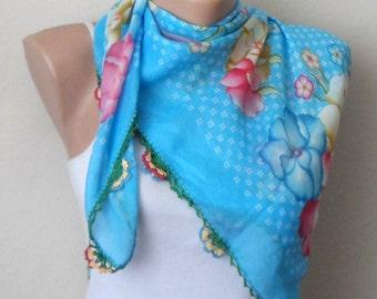 blue scarf  yellow flower green  brown pink cotton turkish yemeni oya handmade