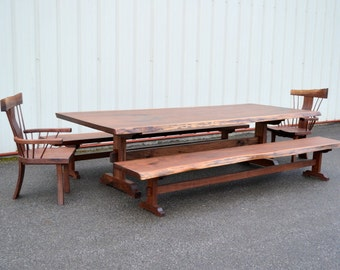 Ten Foot Live Edge Dining Table with Armchairs and Benches