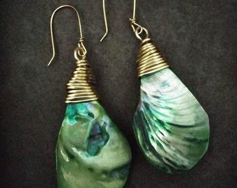 Green Shell drop earrings