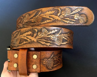 Hand tooled leather belt with thistles - Carved leather belt with thistle motifs - Exclusive gift for stylish ladies - Artisan leather belt